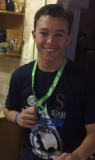Damian de Wet, proud of his medal.