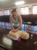Head girl, Simoné van den Bergh, applying heart massage.