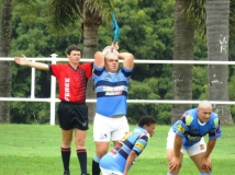 Stefan Corbett launches the ball in a first team line-out.