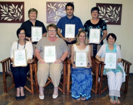 TOP 10 % TEACHERS, GRADE 12 Front: Magriet van der Merwe, Irma de Lange, Wilna van Niekerk and Henriëtte Haar. Back: Nicky Barbeiro, Jacques Vosloo and Willa Marais. Absent: Seph Oosthuizen and Ada Venter.