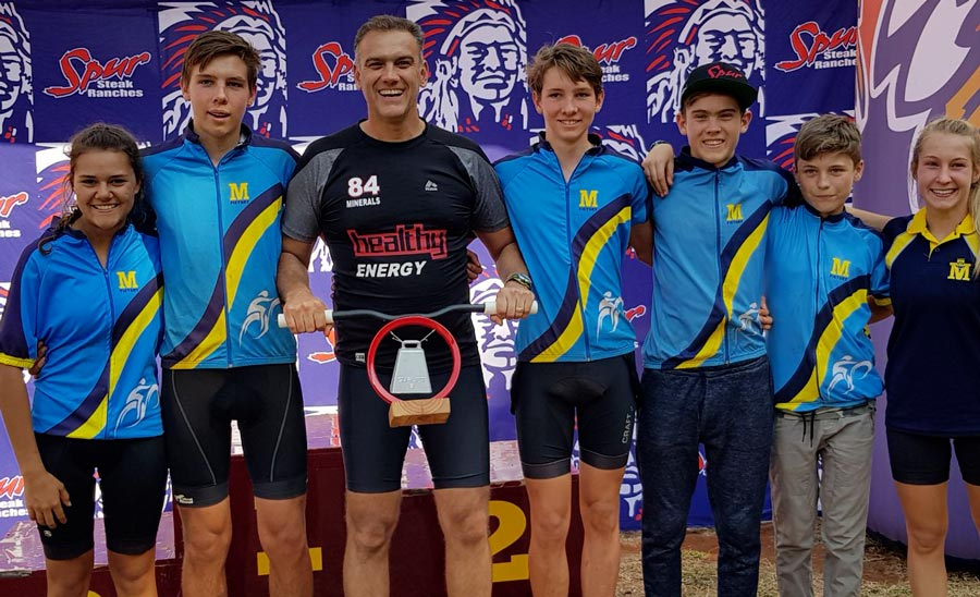 WINNERS OF THE SPIRIT TROPHY: Annaline Rood, Sheldon Muller, mr Pierre Cronjé (coach), Bevan Muller, Armand Cronjé, Matthew Taylor and Amelia Middleton.
