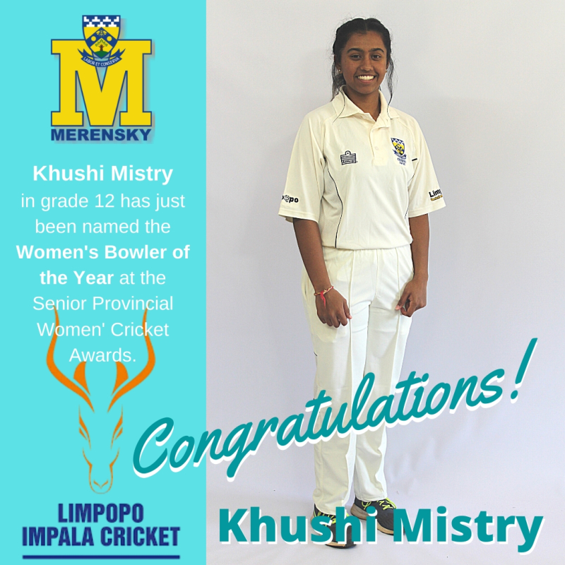 Khushi Mistry 2020 Limpopo Women's Bowler of the Year