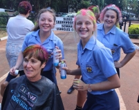 Mrs. Ada Venter sprayed by Lisa Maguire, Steph-Marie de Lange and Shani Rosslee (grade 11).