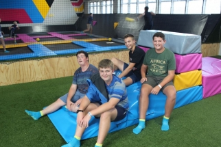 AT THE BOUNCE TRAMPOLINE PARK Front: Heinrich Schultz and Rinus Jacobs. Back: Dirk Crafford and Rohan du Plessis.