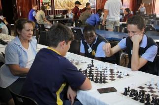 Ms Liesl van Kasterop (MHS organiser) and Kevin van Onselen with Khutso Mohlele and Louis Haynes.