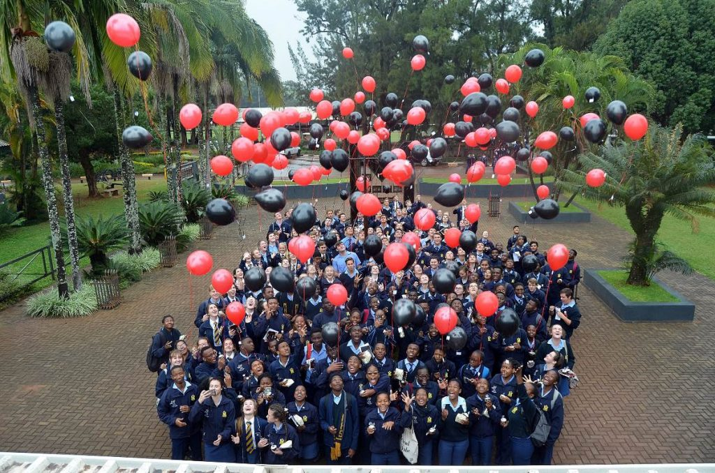 The matrics let go of their balloons during the Balloon Ceremony.