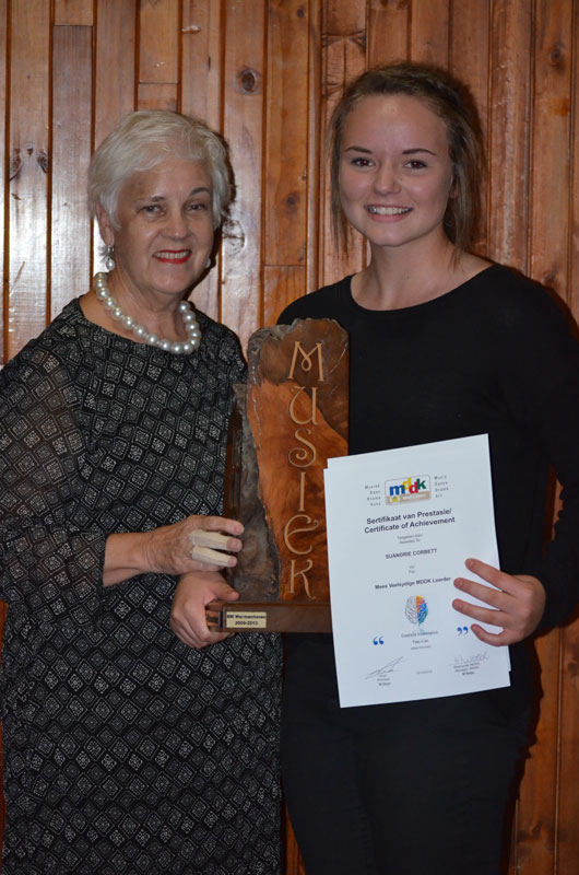 Best all rounder Suandrie Corbett and Mrs. Mari Weber (Manager MDDA)
