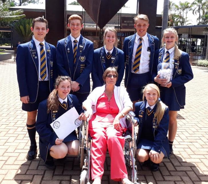 Front: Lisa Maguire, Mrs. Karin Oosthuizen and Liza-Ri Snyman. Back: Jan-Carel van Niekerk, Luann Botha, Jenelle de Jonge, Kieran Albertus and Steph-Marie de Lange.